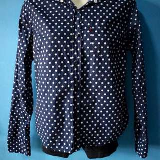 Navy blue polka dot long sleeves polo