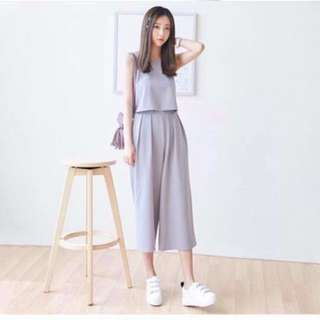 💕Sleeveless Crop Top and Square Pants Terno Set💕