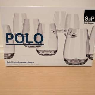 S&P Polo Stemless Wine Glasses - 8 set