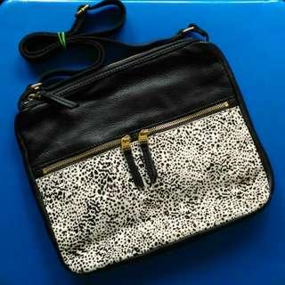 Fossil Erin Genuine Leather Fur Crossbody Bag