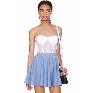 (BN) CO Blue Skater Skirt