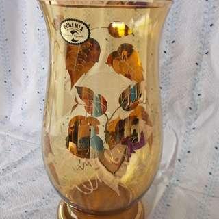 Vintage Bohemia Crystalex Amber Flower Vase Czech Republic