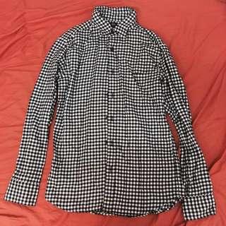 Uniqlo 黑白格子襯衫 法蘭絨