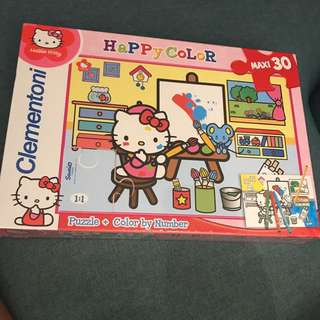 Puzzle + colour by number hello kitty