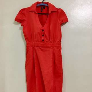 Mango Basic Dress in Shocking Orange Color