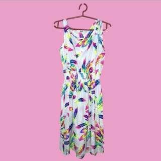 White Silk Feather Design Dress