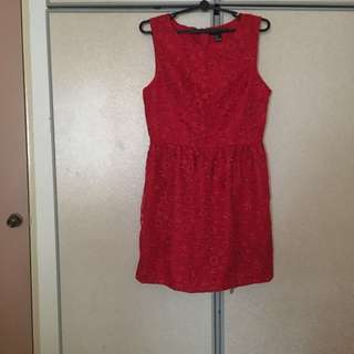 Authentic Laced Red Dress Forever 21 Size Large