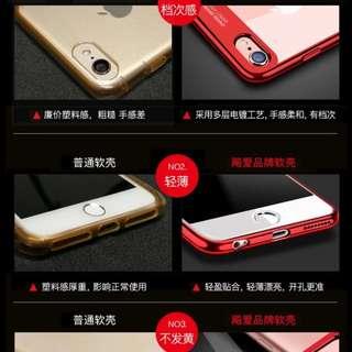 [送玻璃保護貼+指環支架] iphone6/6s/6plus/i6s plus/i7/i8電鍍矽膠軟邊硬殼 輕薄全包透明保護手機殼