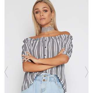 Popcherry Striped Off Shoulder