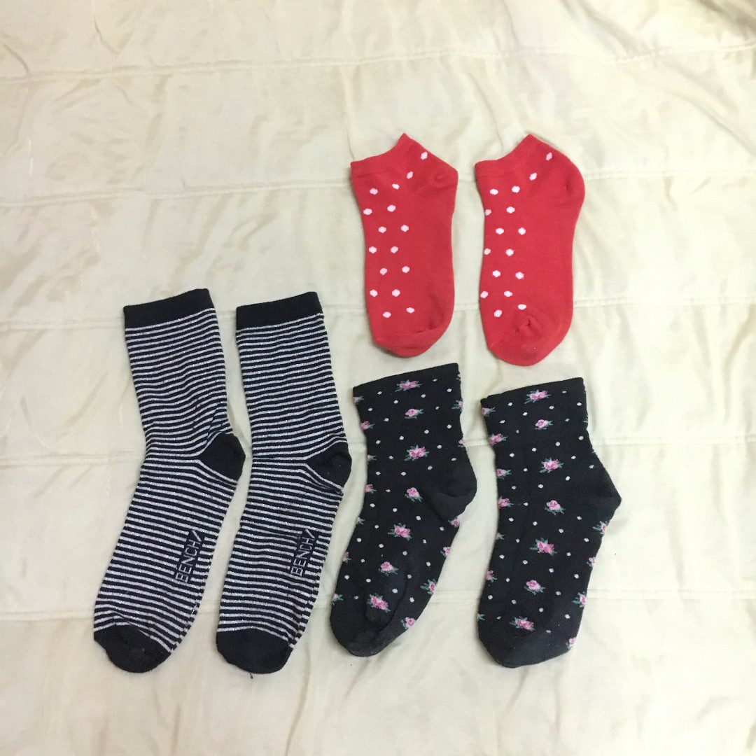 Red polka dots and black socks