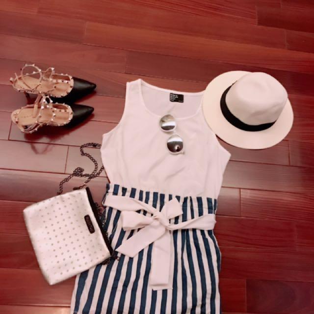韓式氣質條紋洋裝