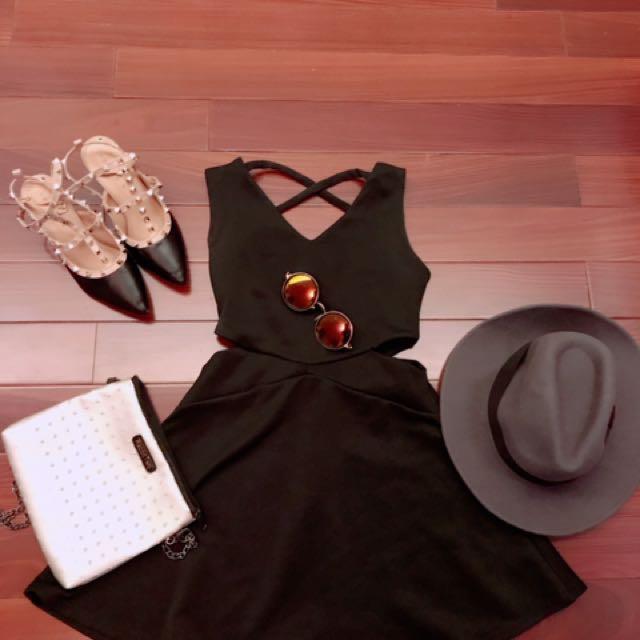 露腰洋裝、帽子