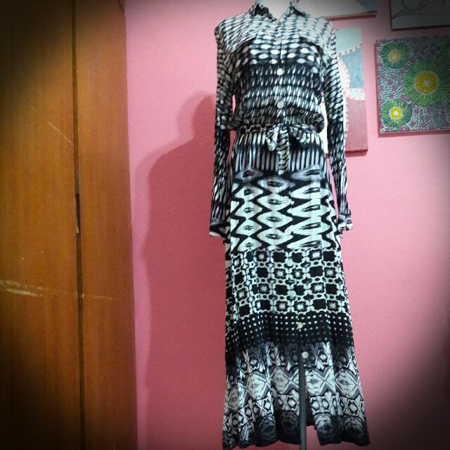 泰國買的襯衫式花洋裝