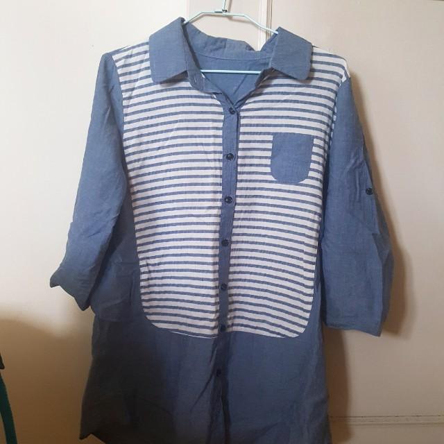長版衫 上衣 襯衫 條紋