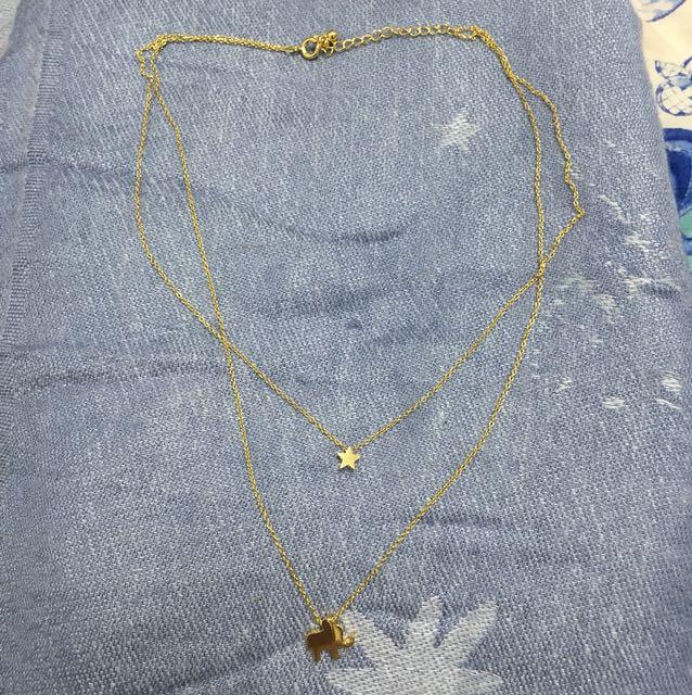 星星與象雙鍊項鍊