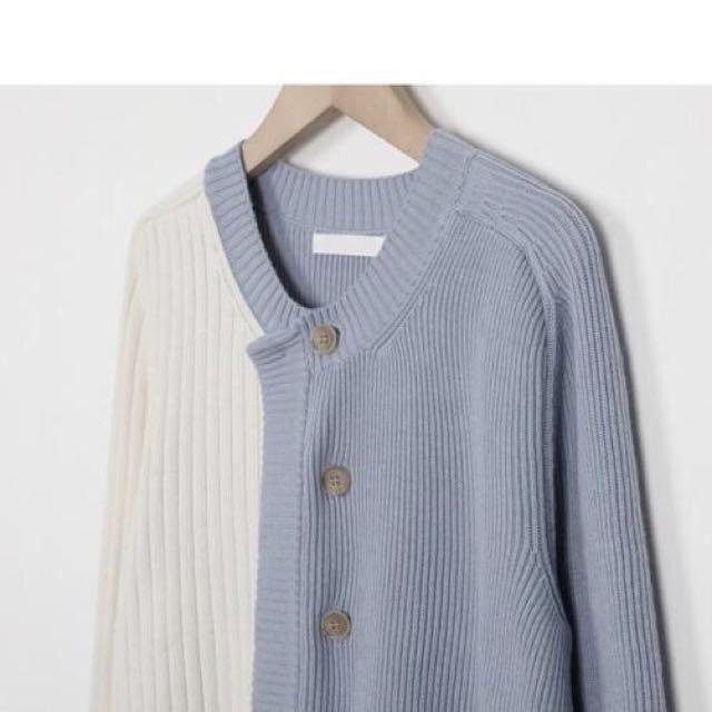 *預購*韓國代購圓領雙色拼接撞色針織排扣外套