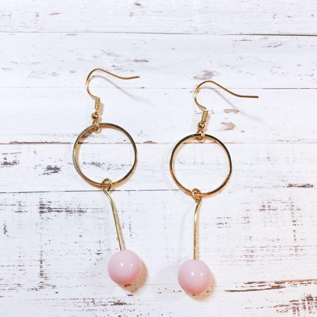 (全新清倉)韓國圓圈垂墜粉紅珠珠氣質耳環耳飾耳洞款