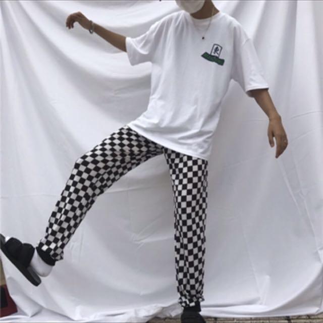 棋盤格褲子