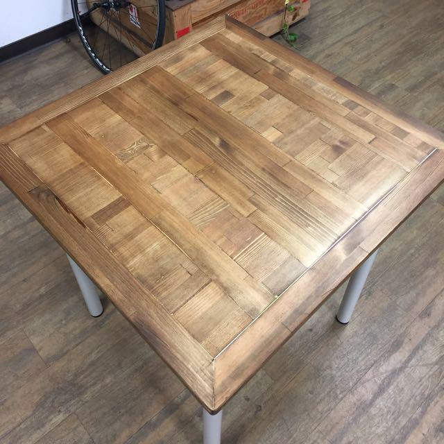 工業風 拼接 柚木 餐桌 書桌