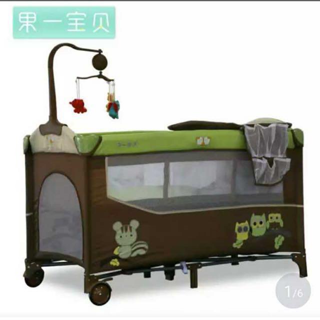 特惠包郵 送床墊 意大利紅 全新多功能嬰兒床 遊戲床