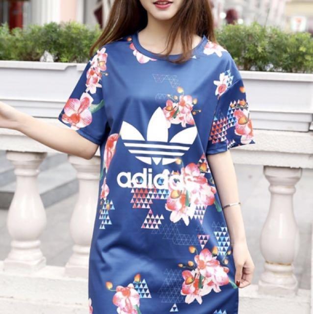 愛迪達adidas 2017夏季新款時尚印花連衣裙*M、L*
