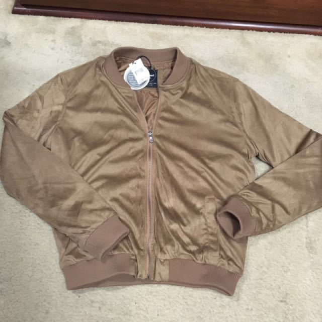 All about eve Jonas tan bomber jacket size 14 new