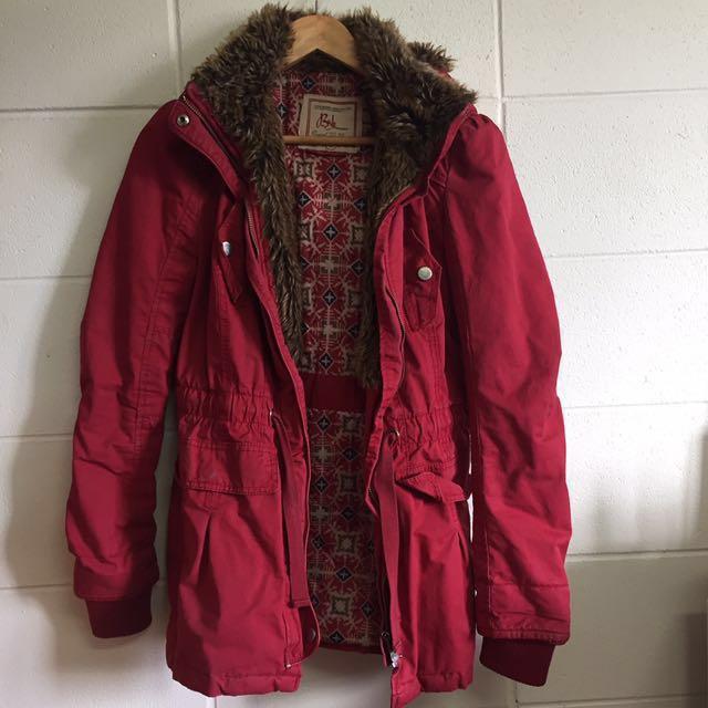 Bershka Red Hooded Parka