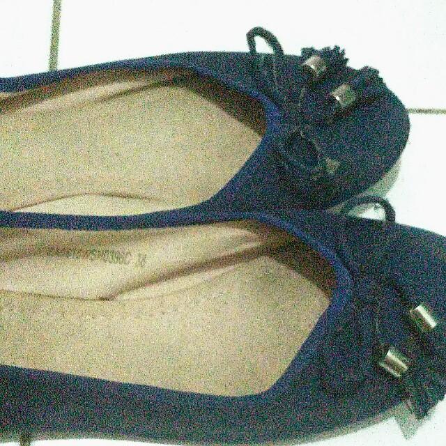 Biru donker flat shoes