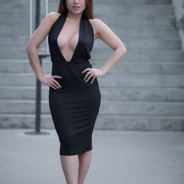 Black Low Cut Dress With Diamonte Back