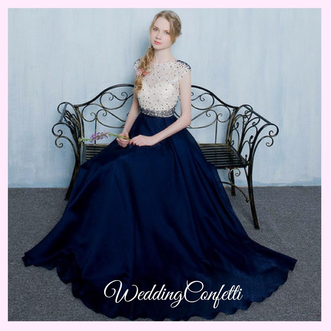 Brand New* Tabitha Wedding Bridal White Navy Blue Gown / Dress ...