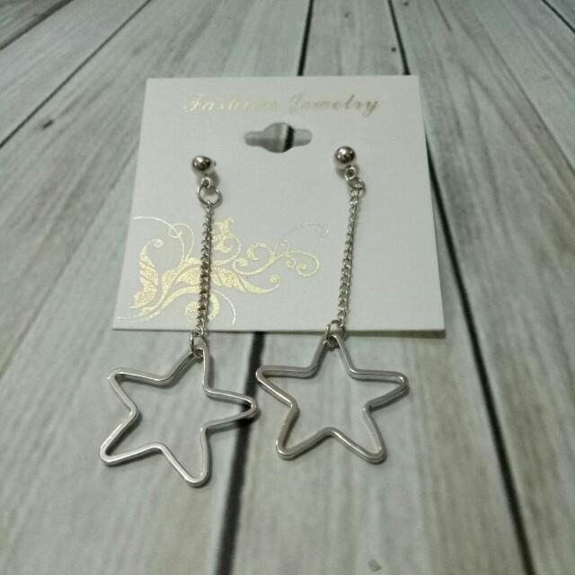 C86735 - Anting Korea Panjang Star Silver