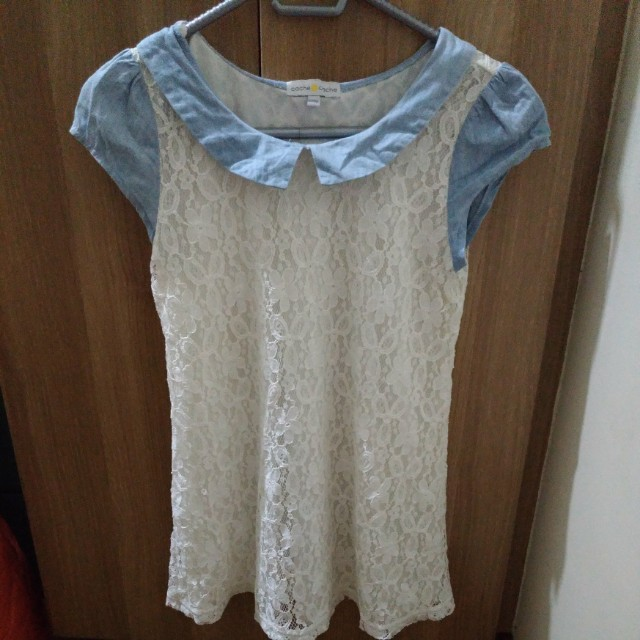 Cache Cache Top in Lace and Denim Combination