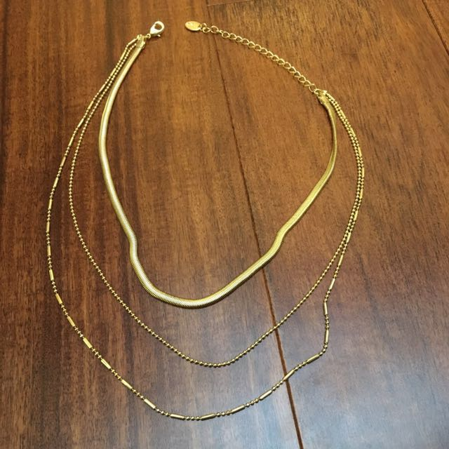 Claire's 3 Stand Gold Necklace