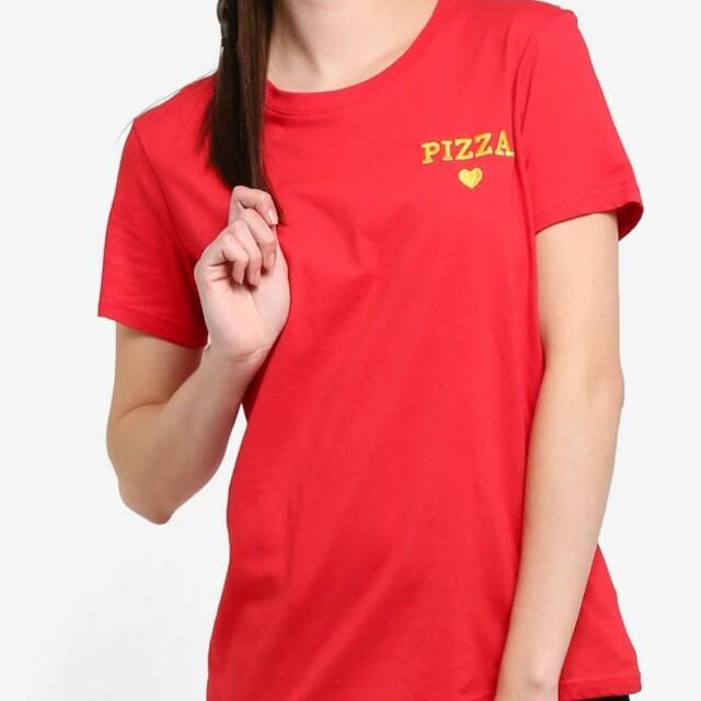 cotton on 正紅色pizza字母素色短袖T恤