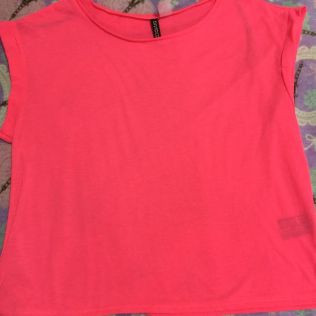 Divided by h&m (japan) neon pink semi crop top
