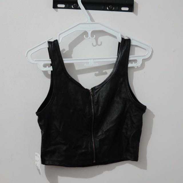 Forever 21 Black Leather Top