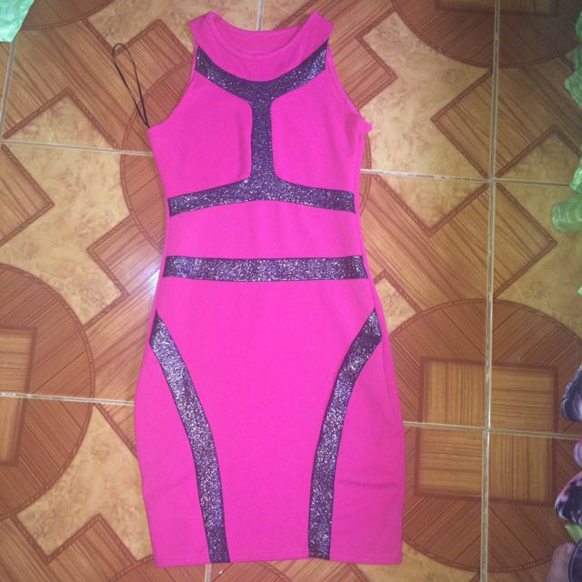 Fuchsia with Silver Lining Halter Bodycon Dress