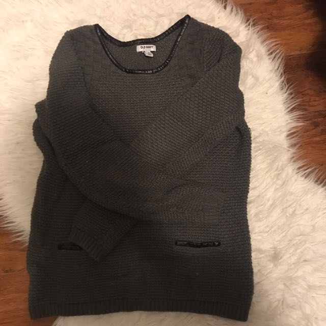 Grey sweater with leather details