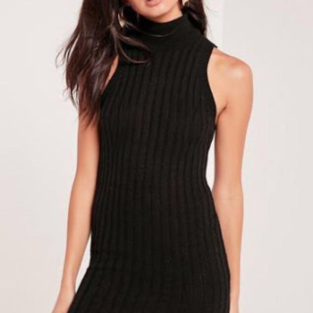 High neck knit dress black