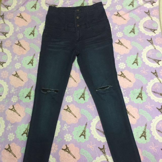Japan brand knee ripped high waist jeans