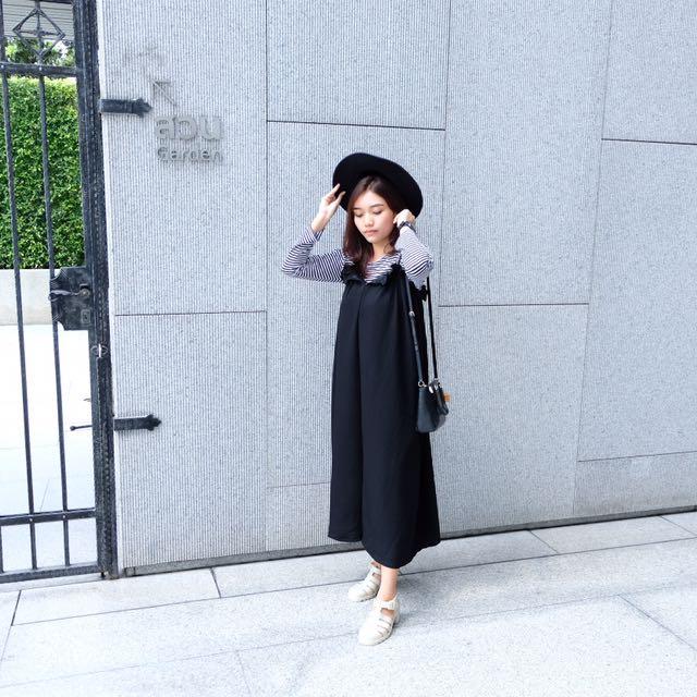 Jumpsuit celana dress panjang black