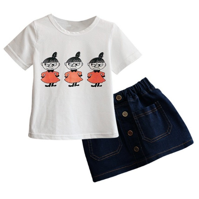Kids girl cartoon t shirt + denim skirt
