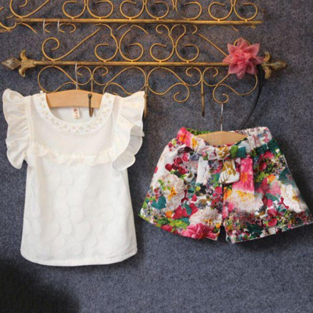 Kids girl sleeveless solid shirt + floral pant