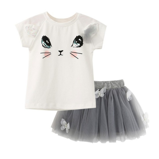 Kids girl summer cat print and tutu dress