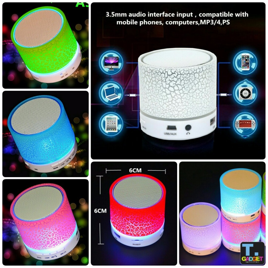 LED MINI Bluetooth Speaker A9 TF USB FM Wireless Portable Music Sound Box For phone PC with Mic, Electronics, Audio on Carousell
