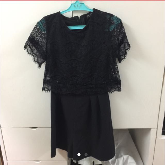Miss Selfridge Black Lace Romper size 2
