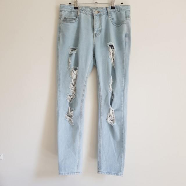 mixxmix ripped mom jeans