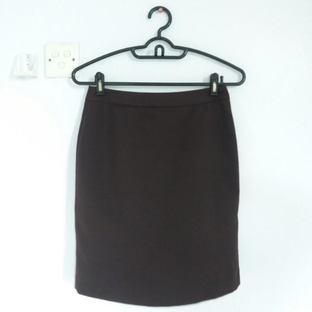 [PL] Agenda Dark Brown Pencil Skirt