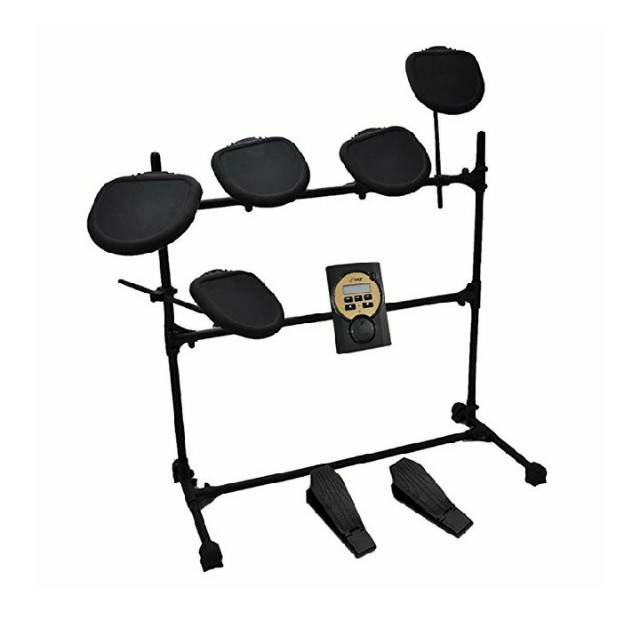 Pyle PED041 - 7 Piece Electric Drum Set with 5 Pads and 2 Kick Pedals - MP3  Play Along and Headphone Compatible -11 Adjustable Sound Presets and MIDI