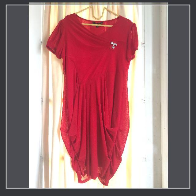 Red midi dress butik whisper